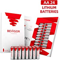 Bevigor AA Lithium Batteries, 24Pack AA Batteries, Ultimate Lithium Double A Batteries, 1.5V 3000mAh Longer Lasting AA Batteries for Flashlight, Toys, Remote Control, Non-Rechargeable