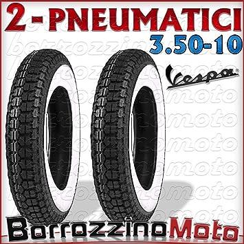 2 neumáticos de goma de banda blanca 3.50/10 para Piaggio Vespa PX 125-150-200: Amazon.es: Coche y moto