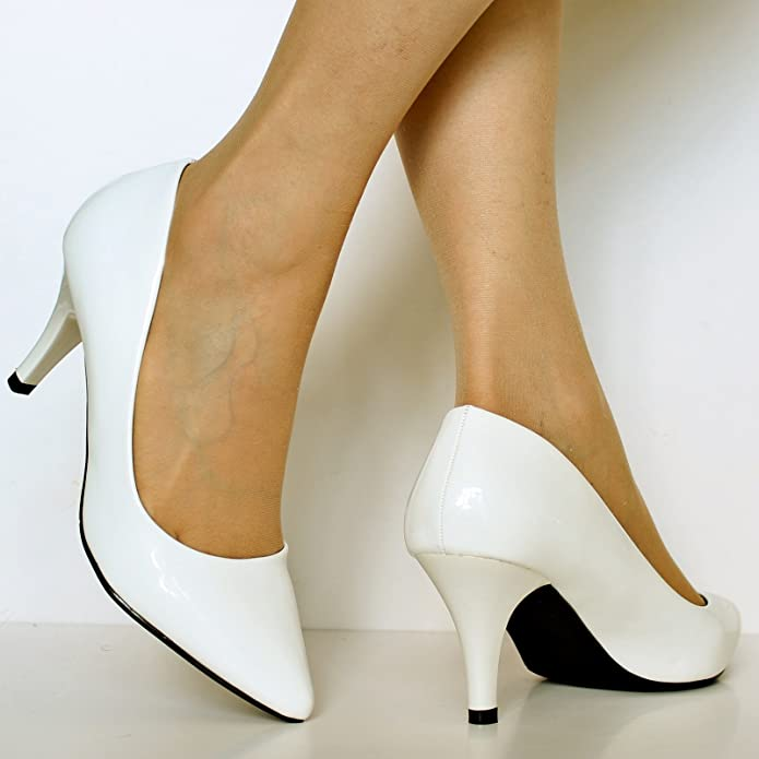 Rock on Styles Ladies Women Patent Low Mid Heel Evening Party office Casual  Court Shoes Pumps Size-5972: Amazon.co.uk: Shoes & Bags