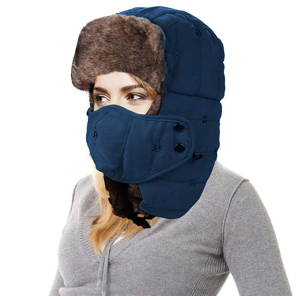 AMAKU Winter Trapper Trooper UshankaHat Face Mask Ear Flap Men /& Women