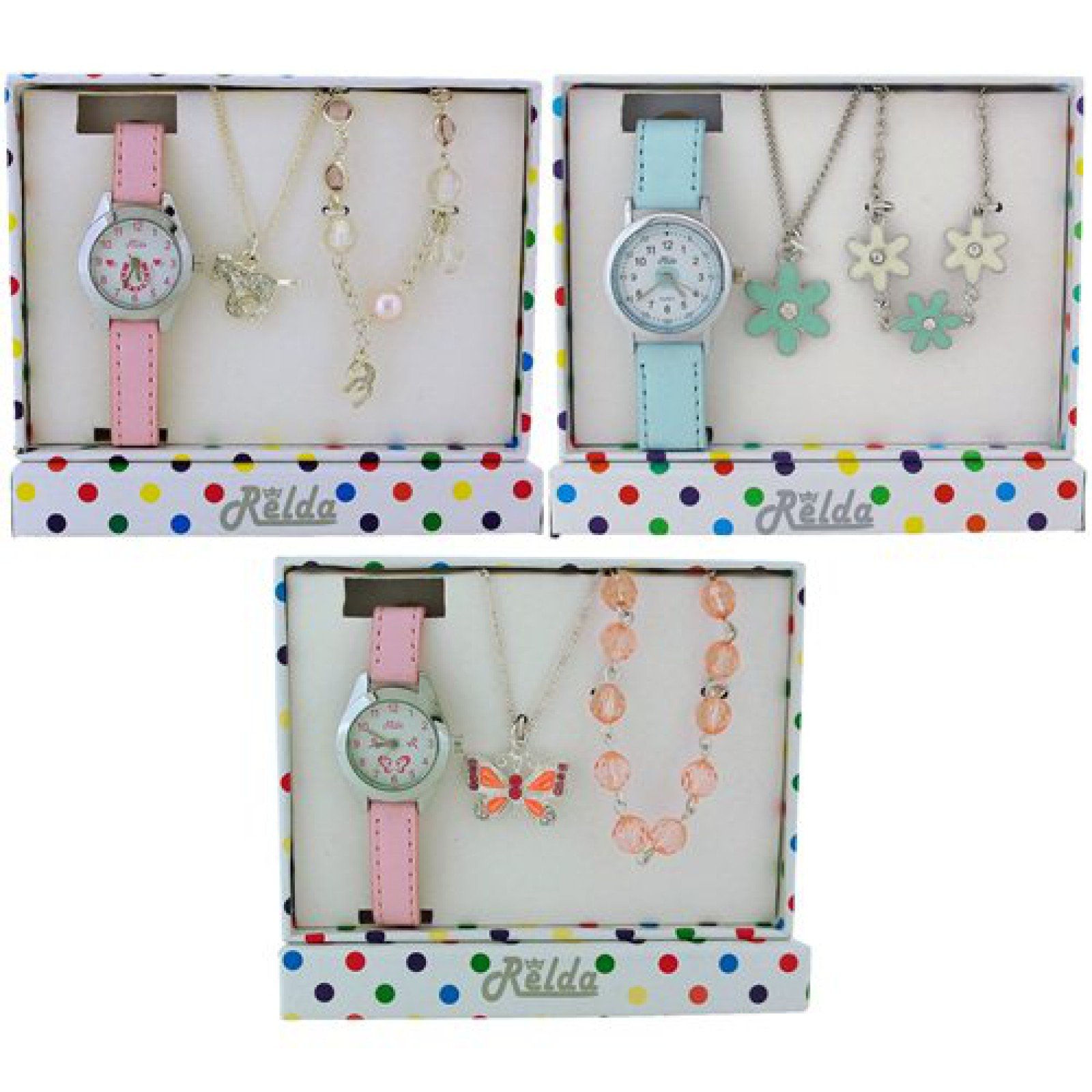 Relda Kids Watch & Jewellery Gift Set - Pack of 3 Designs Rel53