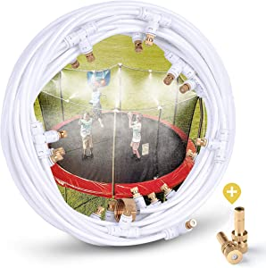 "HOMENOTE Misting Cooling System 92FT (28M) Misting Line + 28 Brass Mist Nozzles + a Metal Adapter(3/4"") Outdoor Mister Patio Garden Greenhouse Trampoline for Water Park"