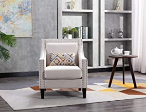 Accent Chair with Small Pillow, Mid Century Armchair with Decorative Nailheads and Solid Wooden Legs, Modern Chairs for Living Room and Bedroom, Beige