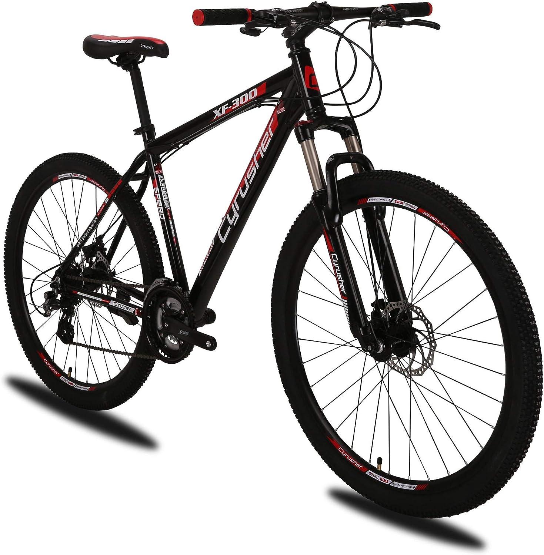 Extrbici XF300 Nueva bicicleta de montaña de 24 velocidades Shimano Shifter Horquilla de aleación de aluminio de 27.5 19 pulgadas con bloqueo MTB Hardtail MTB bike Doble freno de disco mecánico (red):