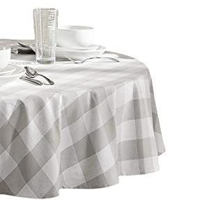 "Elrene Home Fashions Farmhouse Living Buffalo Check Tablecloth, 70"" Round, Gray/White"