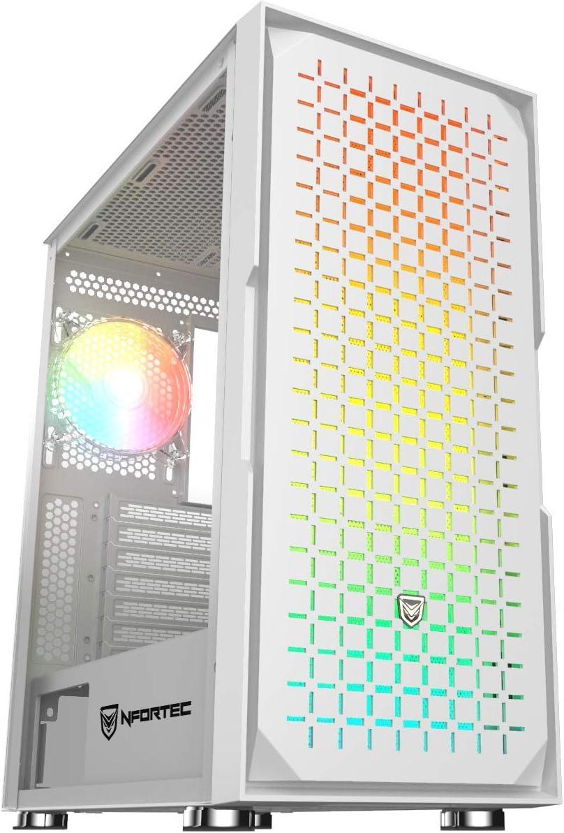 Nfortec Surtur - Torre Gaming ATX RGB con Frontal Mallado, Cristal Templado y 4 Ventiladores Incluidos - Color Blanco