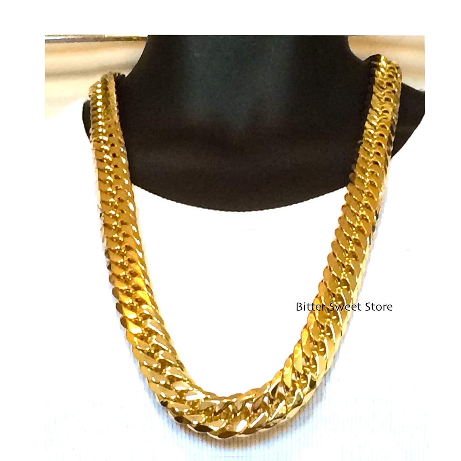 d2fd3b8fc5707 Solid 18mm 14k Yellow Gold Finish Heavy Stainless Steel Miami Cuban Link  Chain Necklace 32