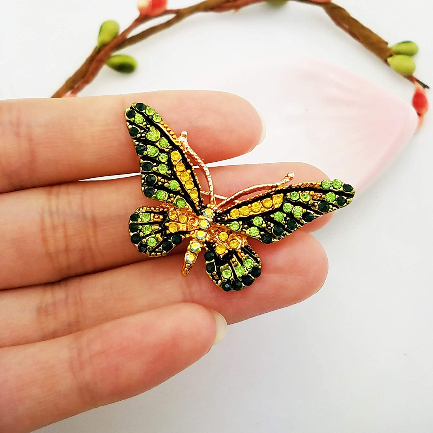 LAXPICOL 2PCS Gold Tone Green Yellow Austrian Crystal Butterfly Brooch Pin Scarf Pin for Women Girls