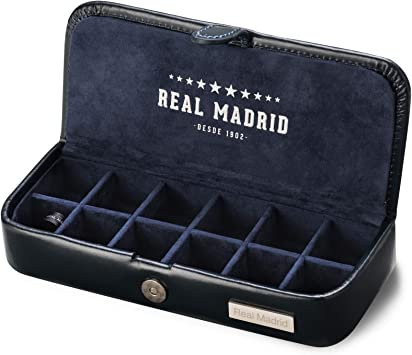 Real Madrid - Estuche de Gemelos Hecho a Mano con Piel Caja para Accesorios, Sujeta Corbatas o Pequeñas Joyas. Ideal para Viaje. Color Azul RMJ-80006: Amazon.es: Hogar