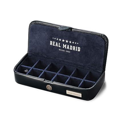 Real Madrid - Estuche de Gemelos Hecho a Mano con Piel de Calidad Premium. Caja para Accesorios tales como Pines, Sujeta Corbatas o Pequeñas Joyas. ...
