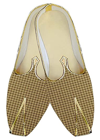 Mens Bisque Checks Wedding Shoes Bollywood MJ015670