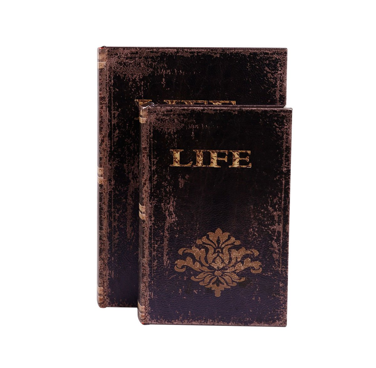 WaaHome Faux Book Box Antique Wooden Leather Jewelry Keepsake Boxes Set with Floral Decoration,Set of 2