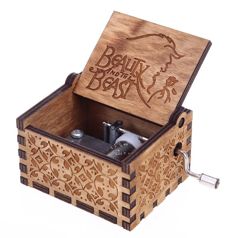 Demiawaking Antique Carved Wooden Hand Crank Music Box Birthday New Year Decoration DemiawakingUK