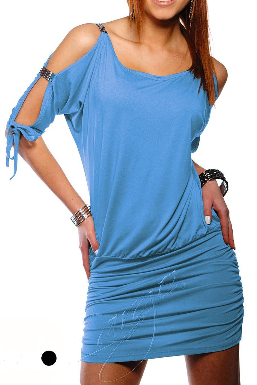 Damen Tunika Top Mini-kleid mit Armschlitz öffnen Ärmel Partykleid ...