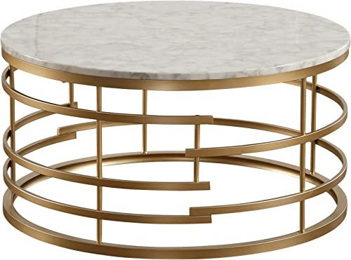 Homelegance Brassica 34 Round Faux Marble Coffee Table, Gold