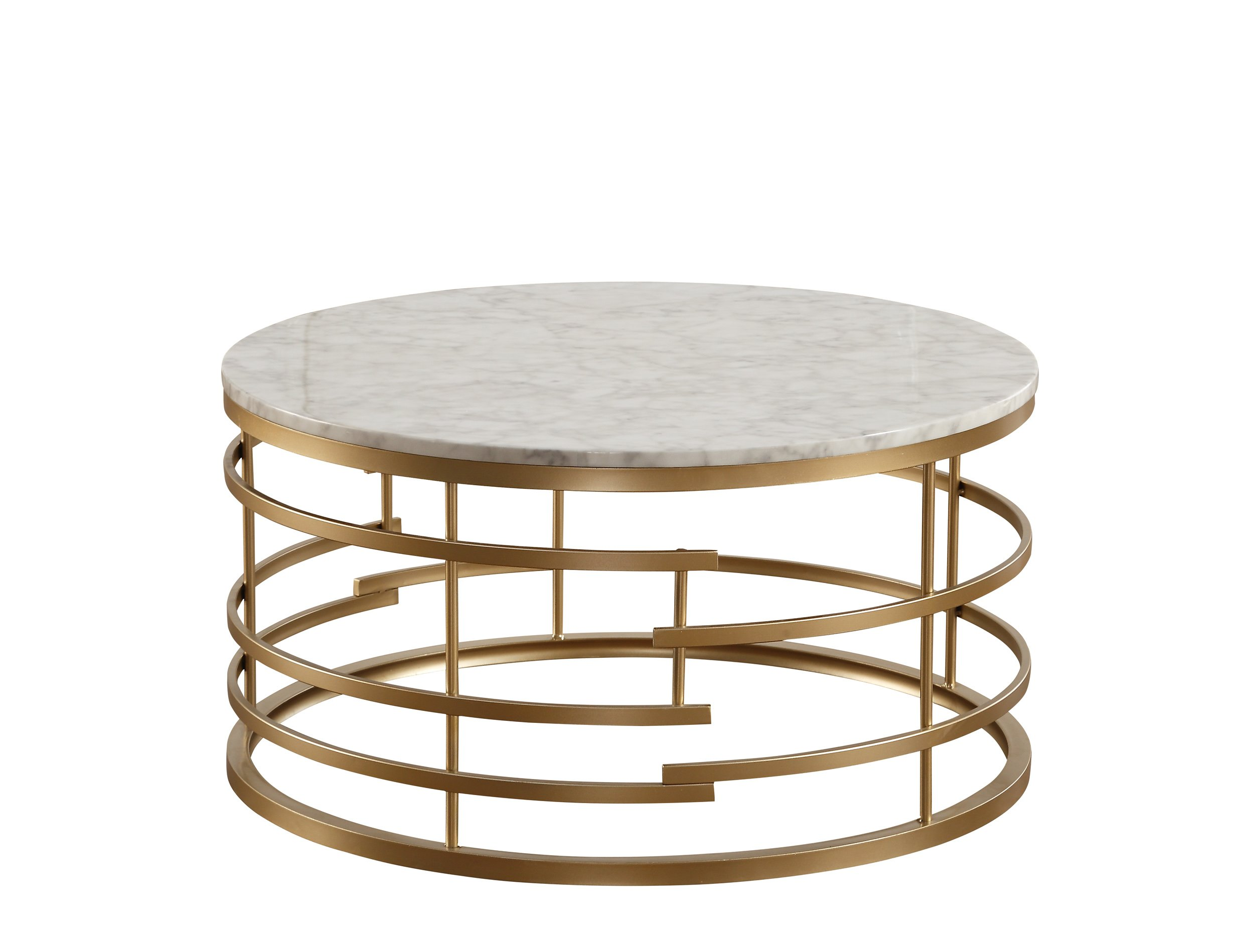 Homelegance Brassica 34'' Round Faux Marble Coffee Table, Gold by Homelegance