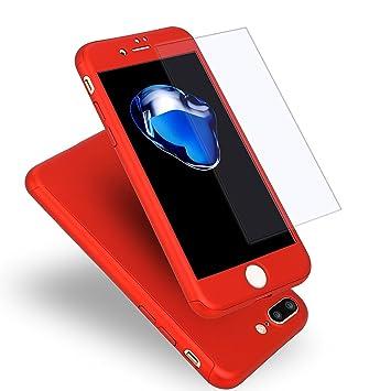 MajoCase Funda iPhone 7 Plus 360 Grados Integral Para Ambas Caras + Protector de Pantalla de Vidrio Templado,[ 360 ° ] [ Rojo ] Case/Cover/Carcasa ...
