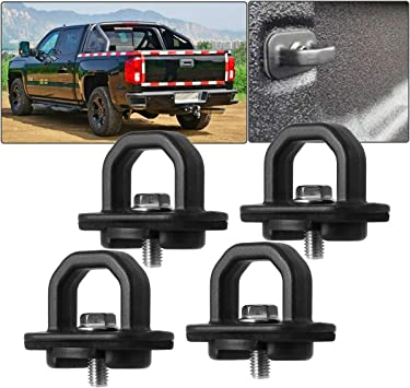 BORDAN Chevy Anchor Truck Bed 4Pcs Set Tie Downs Anchor Fits 07-18 GMC Sierra Cargo 15-18 Chevy Colorado and GMC Canyon Model Truck Bed Side Wall Anchors