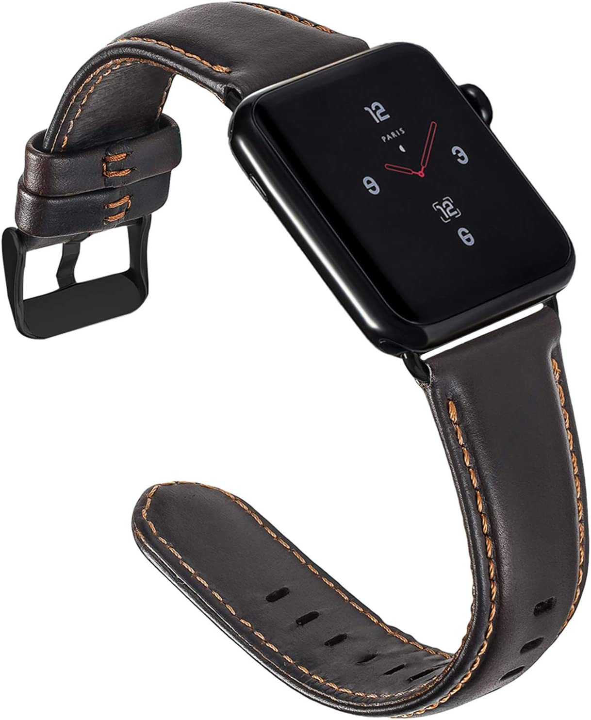 ALADRS Genuine Leather Watch Straps Compatible for Apple Watch Band 42mm 44mm, Wristbands Replacement for iWatch Series 6 5 4, SE (44mm) Series 3 2 1 (42mm), Coffee