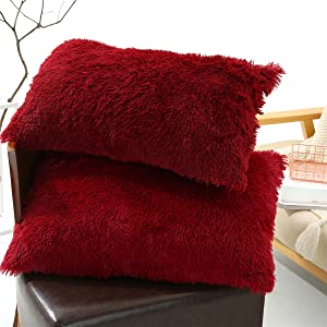 Tenghe Solid Plush Standard/Queen Pillowcase 2 Pack Super Soft Fluffy Faux Fur Shaggy Pillow Cases/Covers Decorative Throw Pillow Shams with Zipper Closure (Standard/Queen-Pillowcases Only, Burgundy)