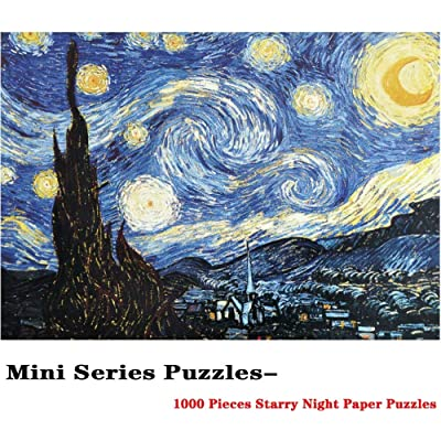Mini Micro Jigsaw Puzzles for Adults 1000 Pieces Jigsaw Puzzles Starry Night Puzzles by Vincent Van Gogh Paper Puzzles 15 x 10 Inches: Toys & Games