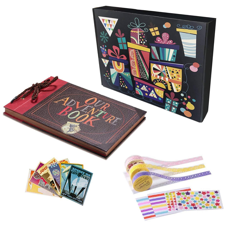 Album Fotografico, Our Adventrue Book Scrabooking DIY Espandibile 80 Pagine con Kit di Accessori Ottimo Regolo per Famiglia Anniversario Compleanno Matrimonio Thanksgiving Personale Christmas ICOICO