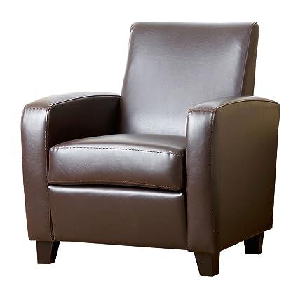 Merveilleux Abbyson Mercer Bonded Leather Club Chair, Dark Brown