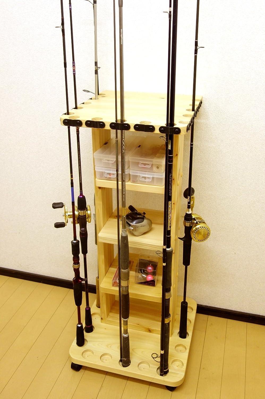 【家具職人の作ったロッドスタンド】 RS-22 1ピース用 標準穴 15本用 キャスター付 ヒノキ材使用   B00OZB4Z4W