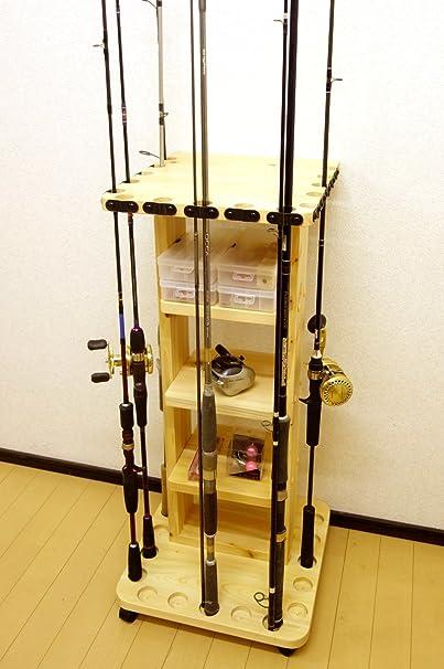 【家具職人の作ったロッドスタンド】RS-222ピース用太穴15本用キャスター付 ヒノキ材使用の画像