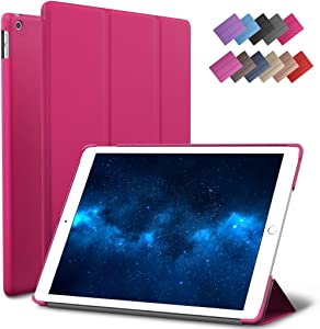 New iPad 9.7-inch 2018 2017 Case, ROARTZ Magenta Slim-Fit Smart Rubber Folio Case Hard Cover Light-Weight Wake Sleep for Apple iPad 5th 6th Generation Retina Model A1893 A1954 A1822 A1823