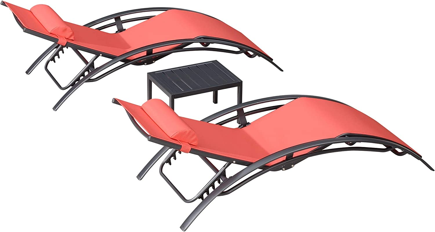 PURPLE LEAF Patio Chaise Lounge Sets 3 Pieces Outdoor Lounge Chair Sunbathing Chair with Headrest and Table for All Weather, Terra