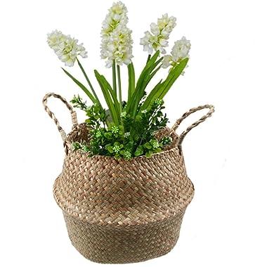 WCIC Belly Basket Seagrass Storage Bin, Natural Woven Planter Hanging Basket with Handle Flower Pot Vase 8.26 x9.44