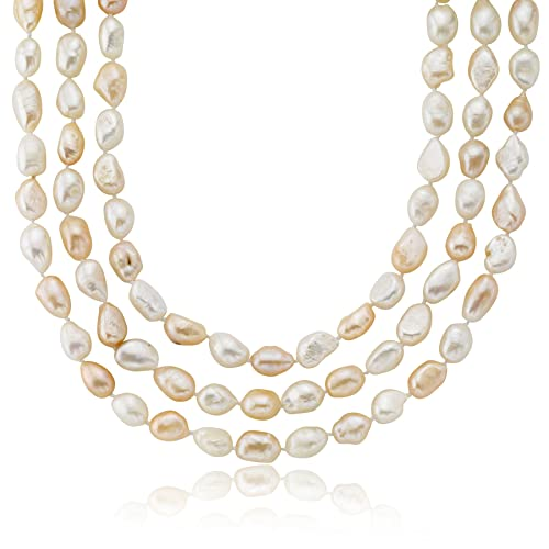 9.5-10.5mm Freshwater Cultured Pearl Baroque Endless Necklace 32 60 64 in Dyed Natural Colors