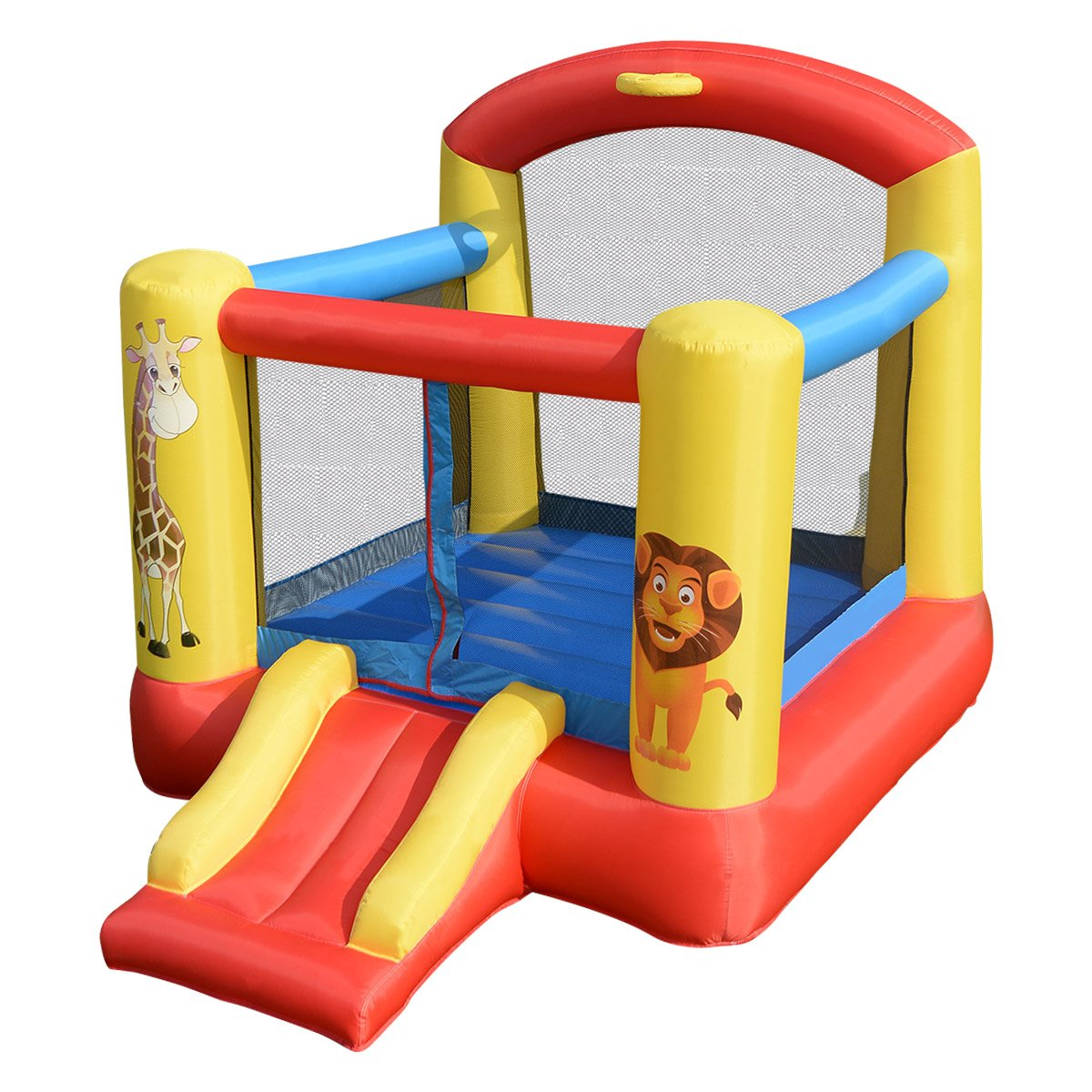 Costzon Inflatable Bounce House, Jump & Slide Bouncer with Oxford Mesh Wall, Ideal for Indoor & Outdoor Use, Including Oxford Carrying Bag, Repair Kit, Stakes (Without Blower)