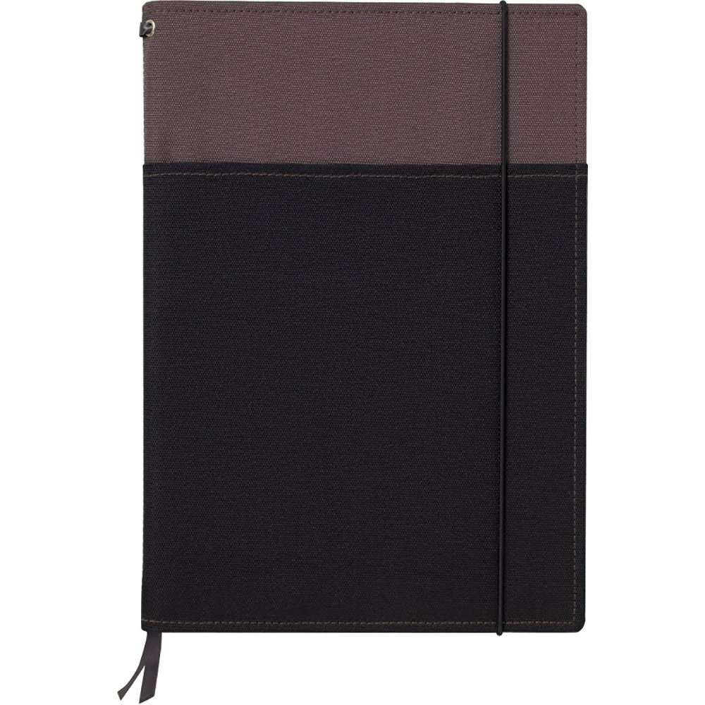 Kokuyo Systemic Refillable Notebook Cover - Semi B5 (7'' X 9.8'') - Normal Rule - 30 Lines X 40 Sheets - Gray / Black