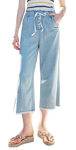 Pantaloni Larghi Eleganti Jeans Donna High 29hied Moda H9E2WeDYI