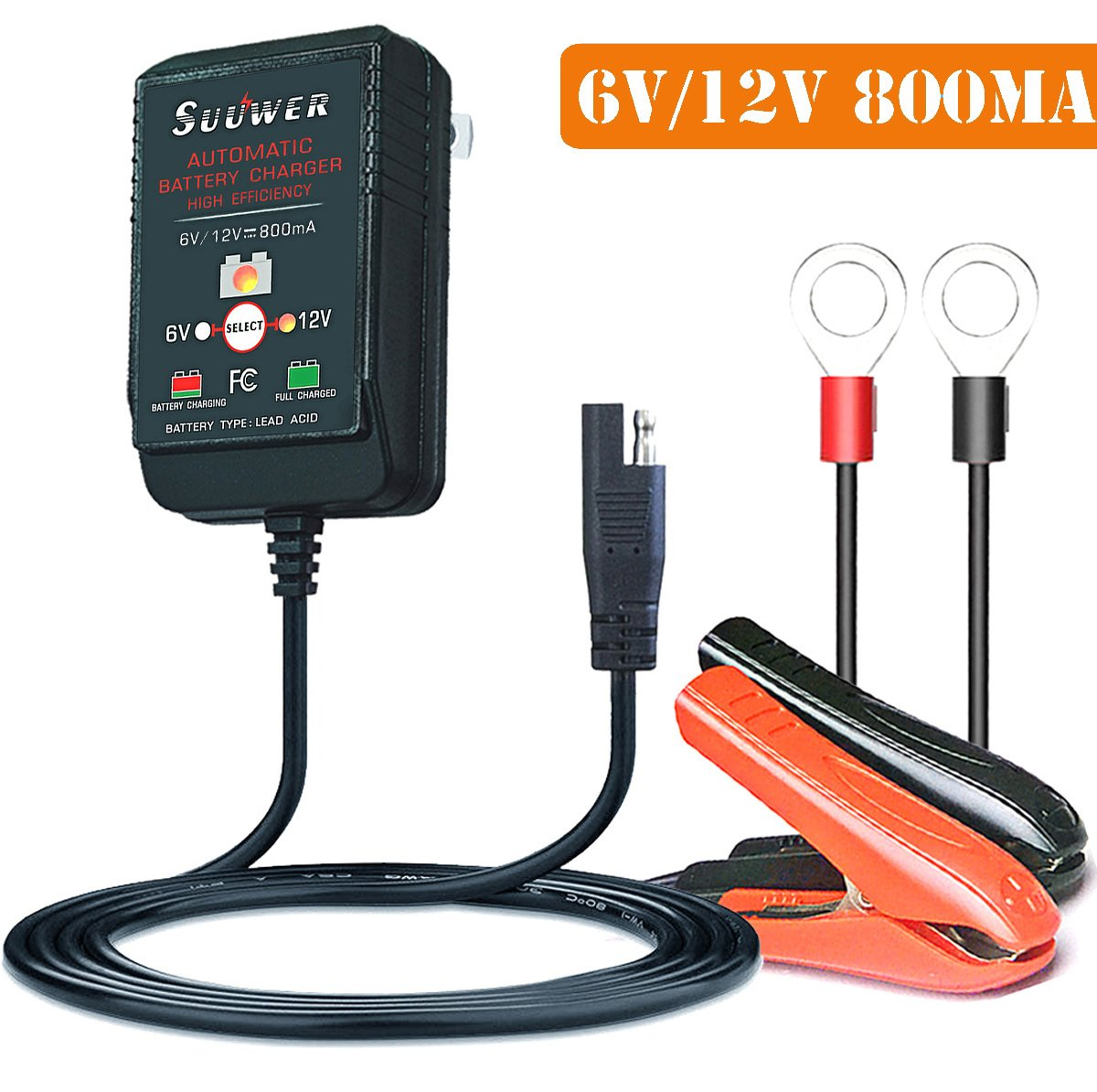Suuwer 6v 12v 800ma Is A Super Smart Battery Charger Circuit Lead Acid Monitor That Will Constantly Trickle Charge And Maintain Your For Car Truck Boat
