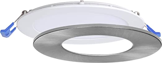 Nadair 6 Led Recessed Ultra Slim Lights 1 Pack Ic Rated Dimmable 15w 90w 1125 Lumens 4000k Cool White Large Junction Box Quick Connect System White Finish Brushed Nickel Trim Included Tools Home Improvement Amazon Canada