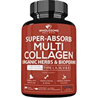 Super-Absorb Multi Collagen Pills (Type I II III V X) Organic Herbs and Bioperine - Anti-Aging, Hair, Skin, Nails, Joints - Hydrolyzed Collagen Peptides Protein Supplement for Women Men (90 Capsules)