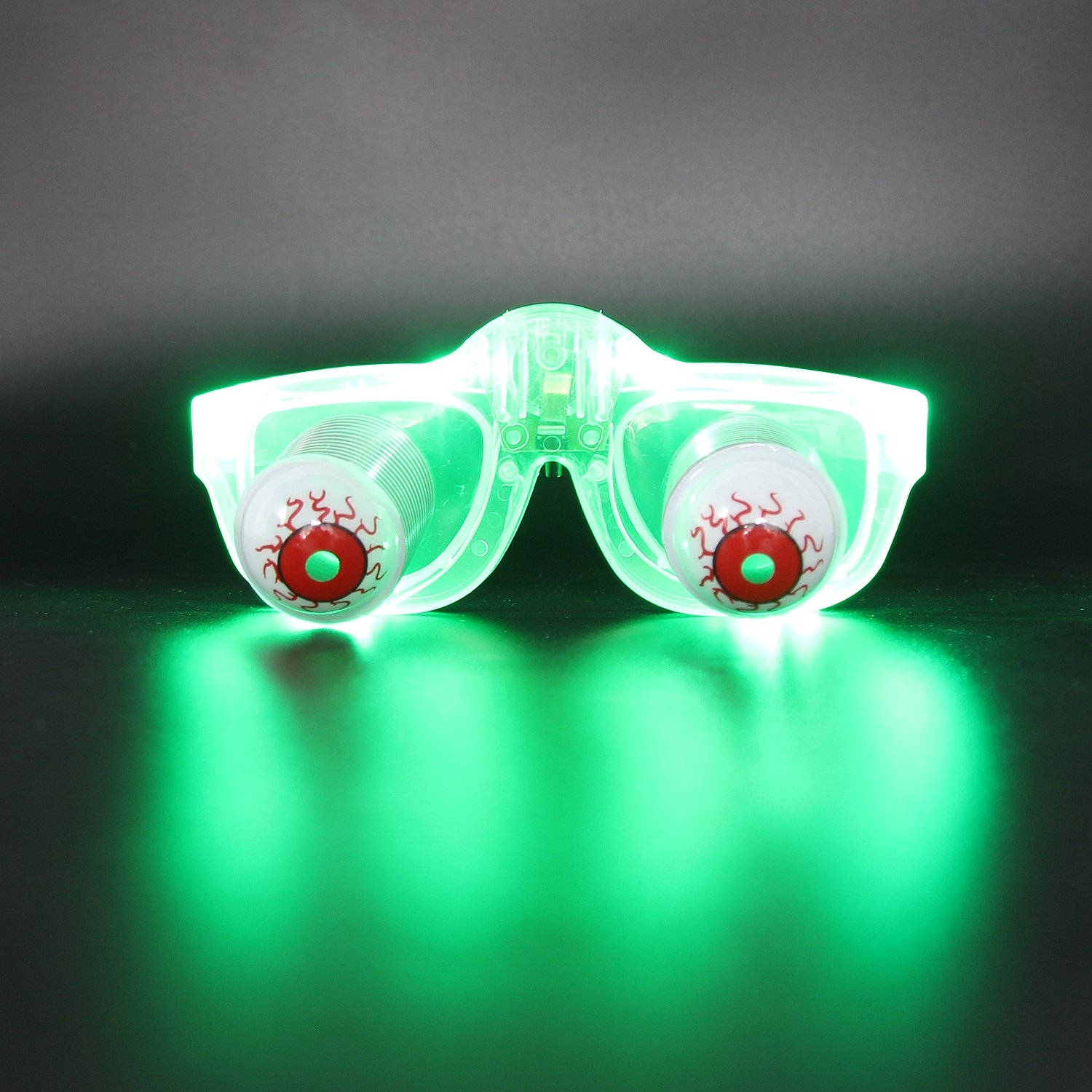 DA XIN Light Up Pop Out Eyes Glasses Droopy Eyes Glasses Goofy Slinky Pop Out Eye Gag Halloween Costume Party Joke Green fancyglow LED Brille