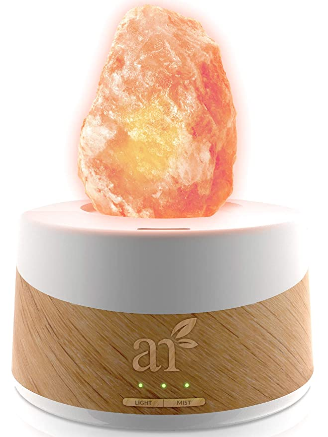 for Rest Relaxation and Energy Hand Carved Pink Crystal from Pure Salt in the Himalayas ArtNaturals Himalayan Rock Salt Lamp Real Wooden Base