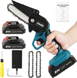 Likein Mini Chainsaw, 4 Inch Cordless Electric Chain Saw with 2 Batteries, 21V Rechargeable Small Portable Handheld Battery Chainsaw for Tree Trimming and Wood Cutting