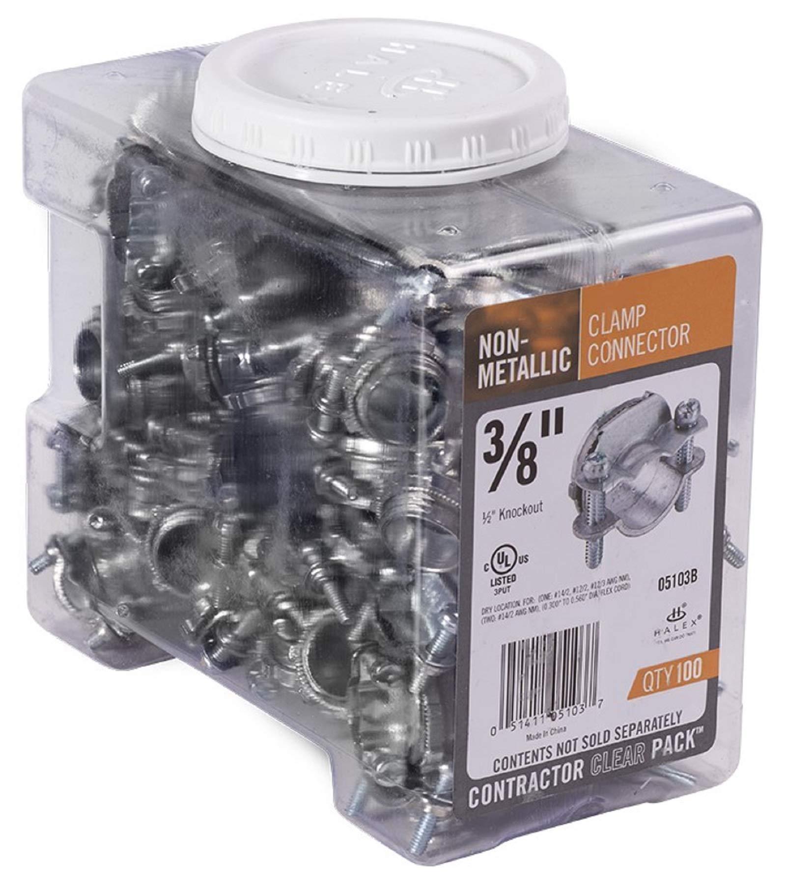 Halex 05103B NON-METALLIC CLAMP CONNECTOR 100/CCP 3/8'' Silver