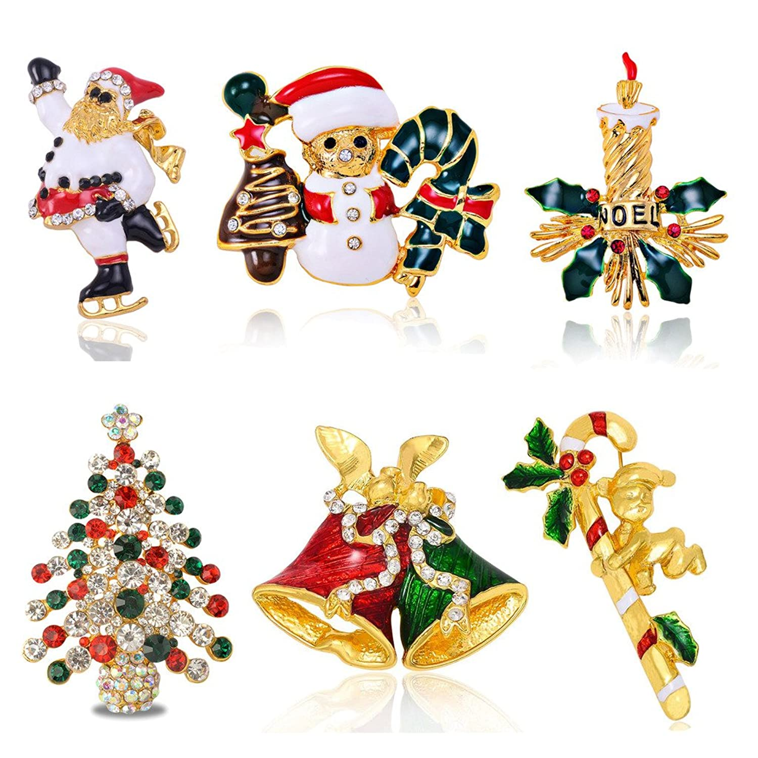 Sewanz Women's Christmas Theme Brooch Pins,Happy Holidays Decorations Gift