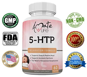 Amate Life 5-HTP 100 mg, Natural Sleep Aid Supports Anxiety Relief and Mood