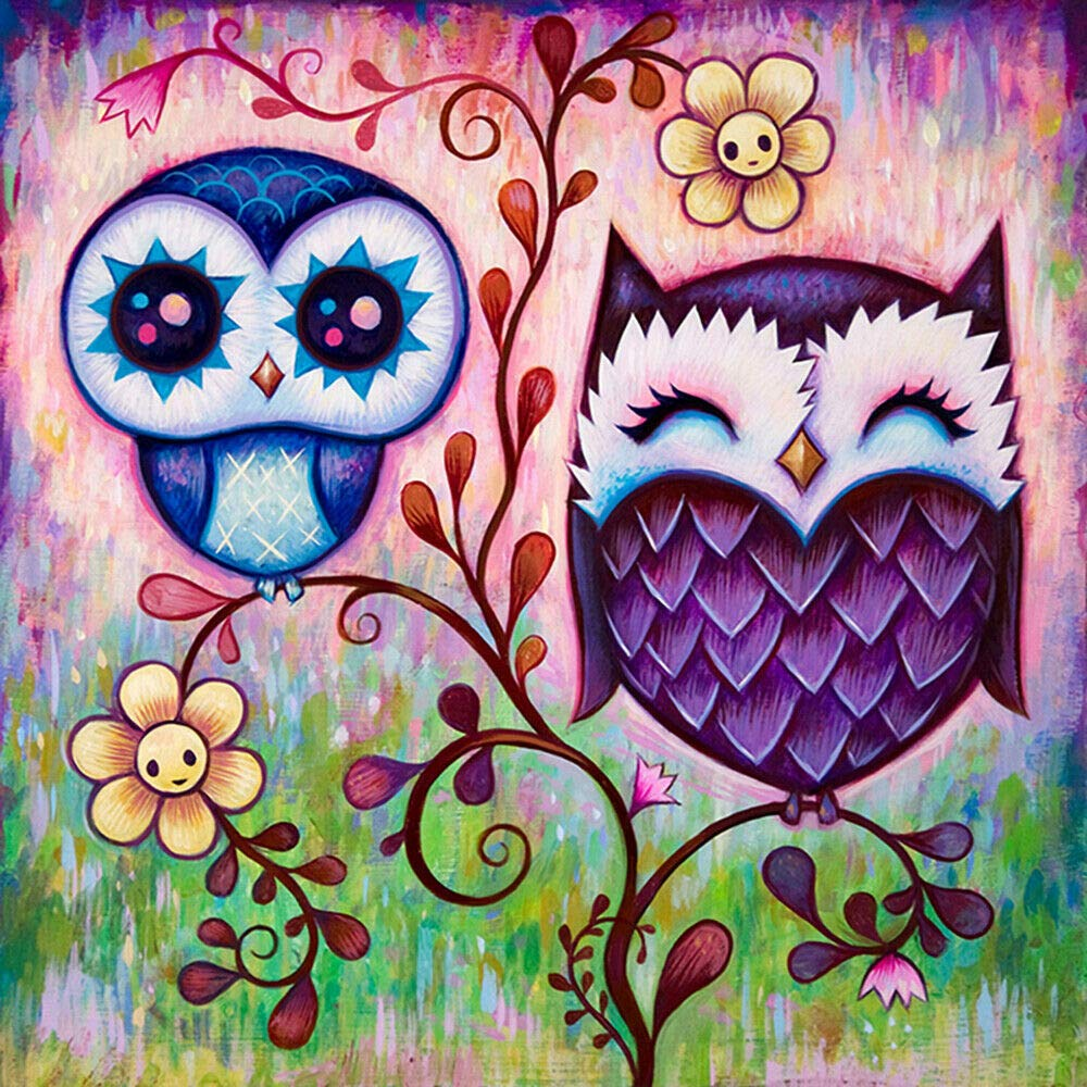 DIY 5D Diamond Painting by Number Kit 14.1X14.1 Inch Crystal Rhinestone Embroidery Cross Stitch Arts Craft Supply Canvas Wall Decor Queen Owl
