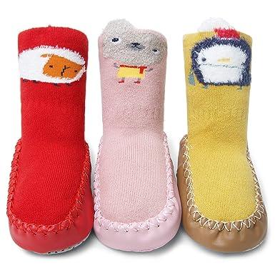 Adorel Mocasines Antideslizantes para Bebés 3 pares: Amazon.es: Ropa y accesorios