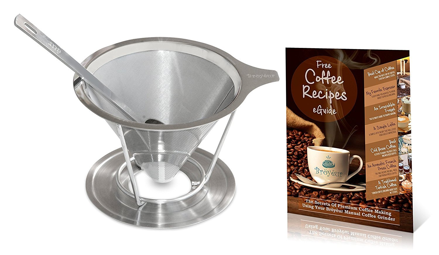 Bröyêur Paperless and Reusable Coffee Filter / Dripper Maker with Stand, Coffee Scoop and Recipes eBook