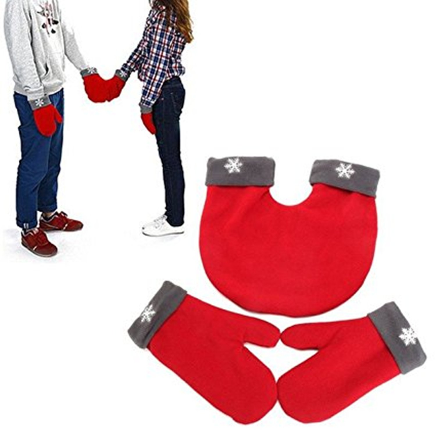Mai Poetry Christmas Lovers Couples Snowflake Winter Mittens Gloves Valentine's Gift (Black)