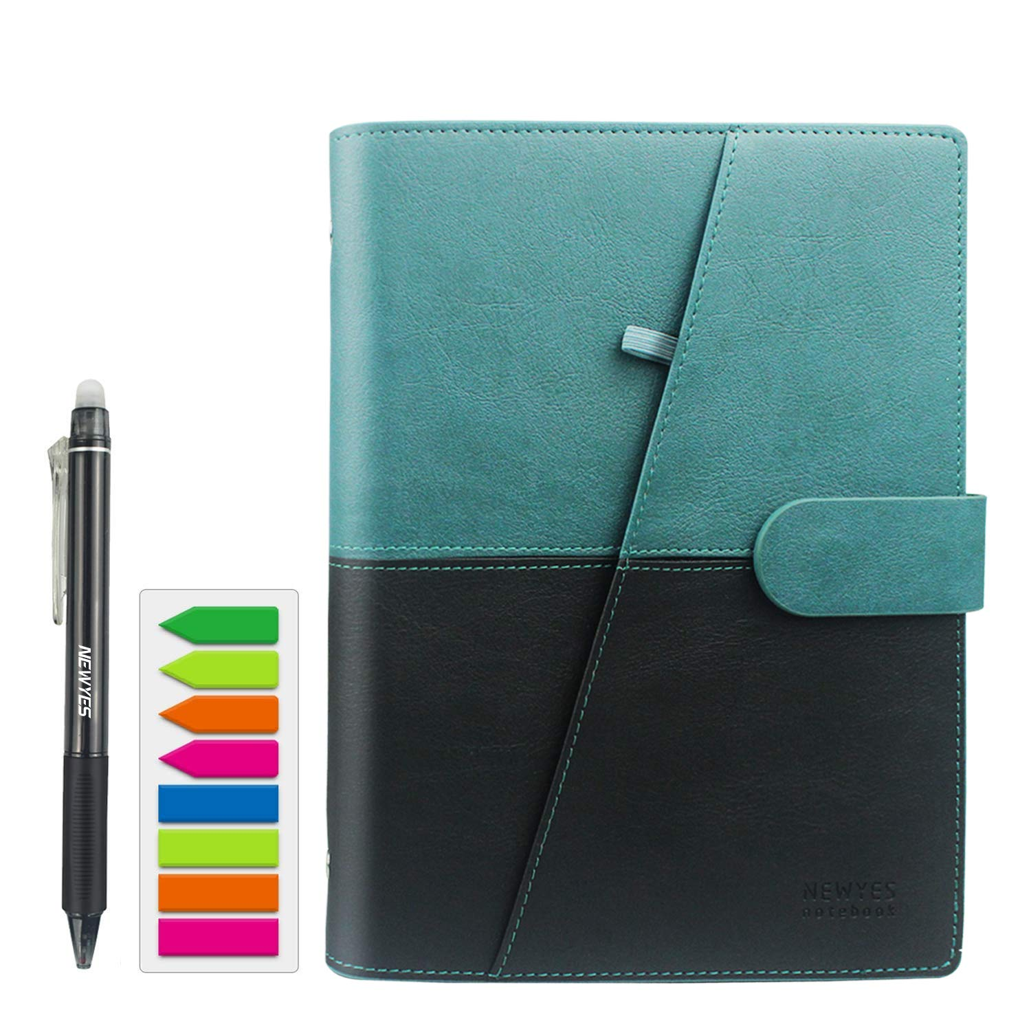 NEWYES Erasable Reusable Smart Notebook PU Leather Hardcover Sketch Pads APP Storage A5 Size 100 pages (Black & Green) by NEWYES